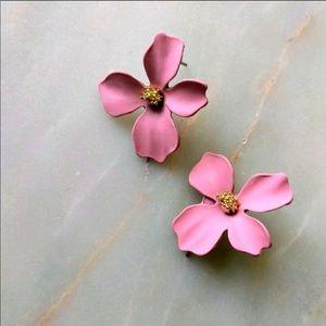 Petal Stud Statement Earrings- Dusty Rose